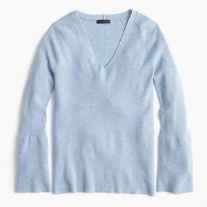 NWOT J.Crew Peplum-sleeve V-neck sweater.